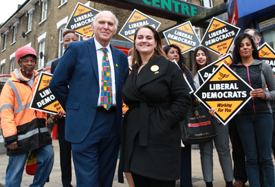 Vince Cable with party campaigners