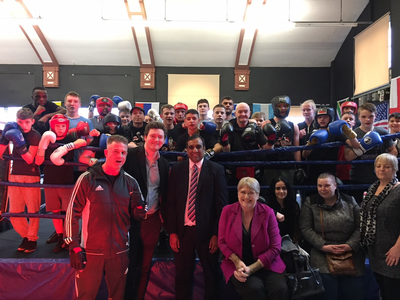 Cllr Shaffaq Mohamed and Sal Brinton at the Da Hood boxing club in Sheffield