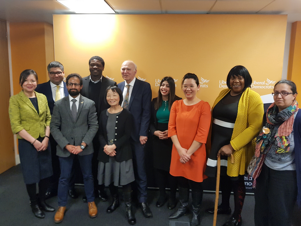 Vince Cable at BAME press conference with BaME candidates